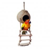 Casita/nido de coco para pequeñas aves